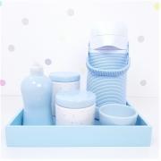 Kit Higiene | Poá Azul com Bandeja de Mdf e Garrafa Alinhavada (LA2343)