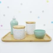 Kit Higiene | Poá Verde com Bandeja de Bambu (LA2311)