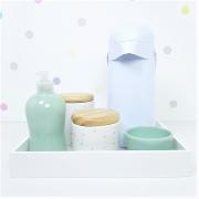 Kit Higiene   Poá Verde com Bandeja de Mdf e Garrafa Branca (LA2333)