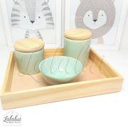 Kit Higiene Verde Menta e Tampas de Madeira K05 (Quarto de Menino e de Menina)