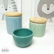 Kit de Potes | Azul Candy, Verde Menta, Turquesa e Tampa de Madeira - P40