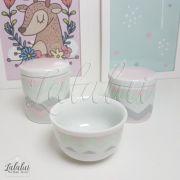 Kit de Potes | Branco com Chevron Rosa, Cinza e Verde - P02