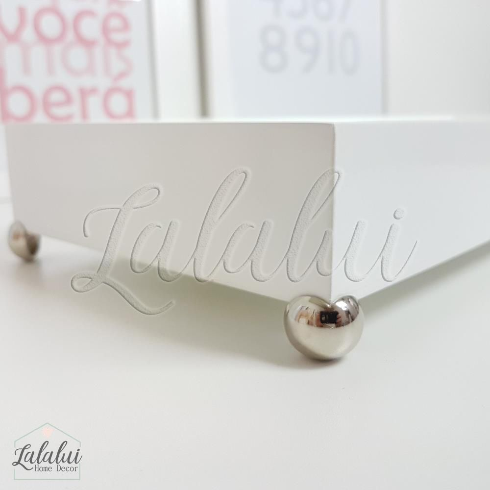 Bandeja de Madeira | Branca 45x15x4,5cm com pés (LA0117)