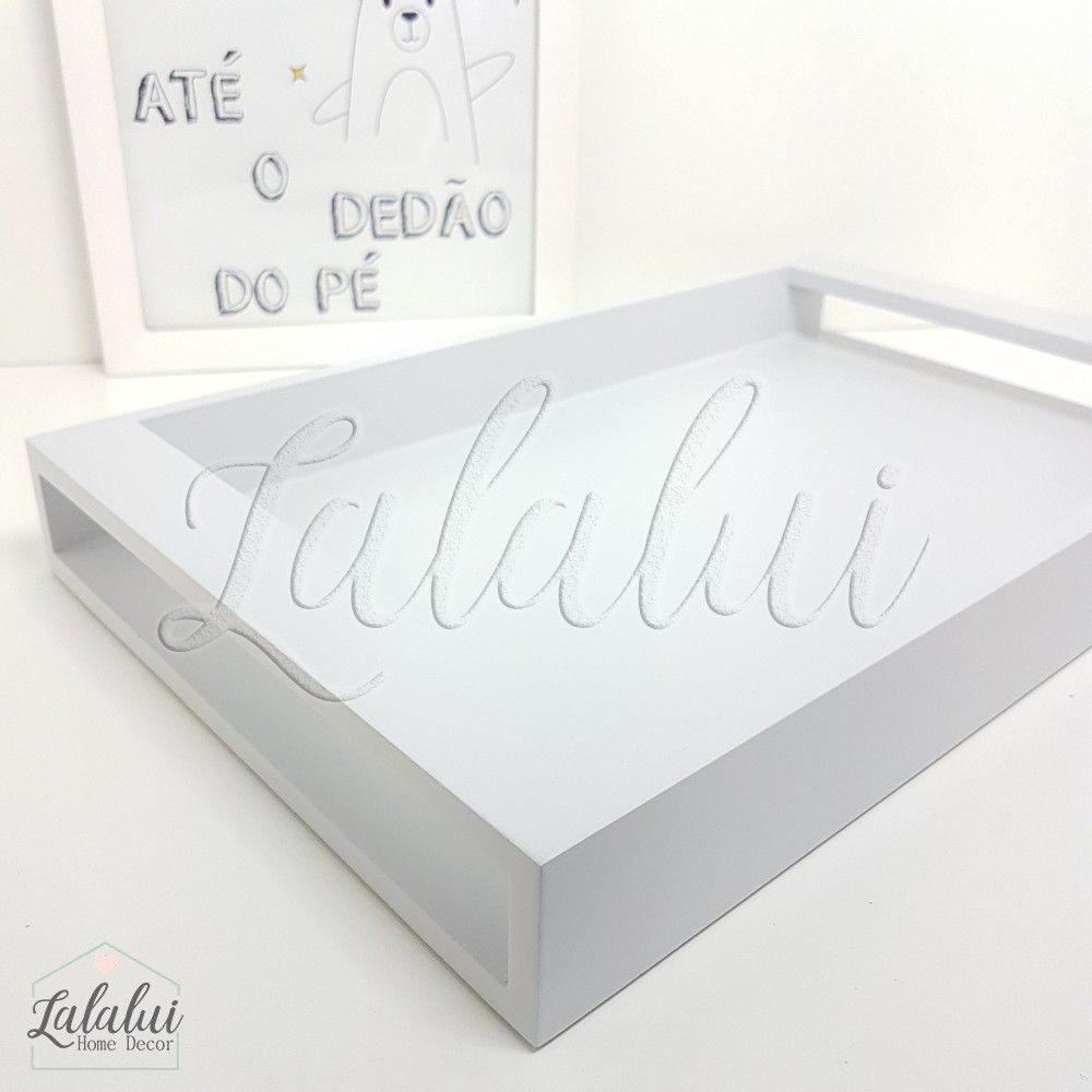 Bandeja de Madeira | Cinza Candy  43x26x5cm - B04