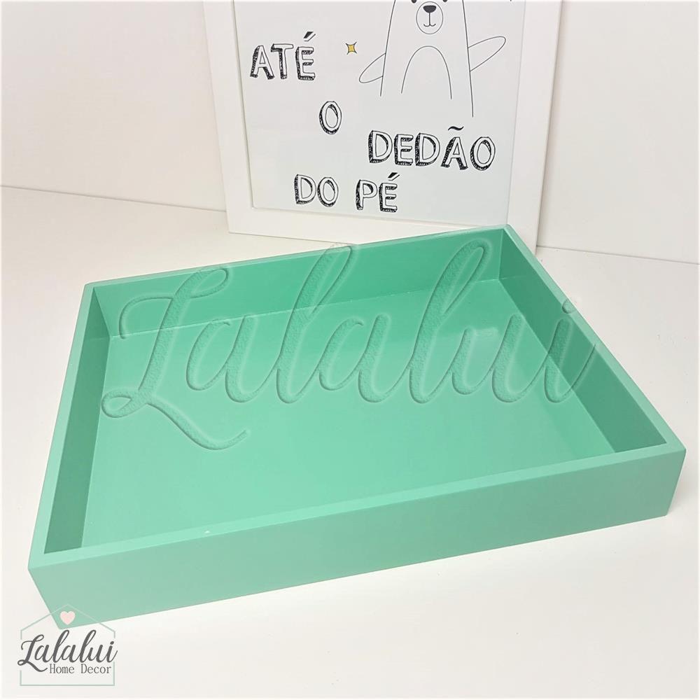 Bandeja de Madeira | Verde Turquesa 28x22x4,5cm - B15