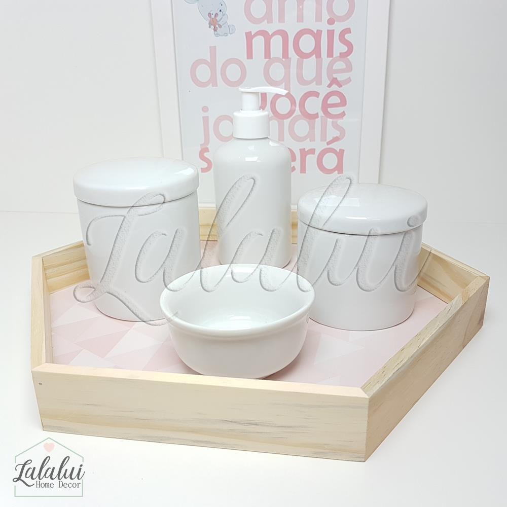 Kit Higiene Branco Básico 4 peças K09 (Quarto Menina)