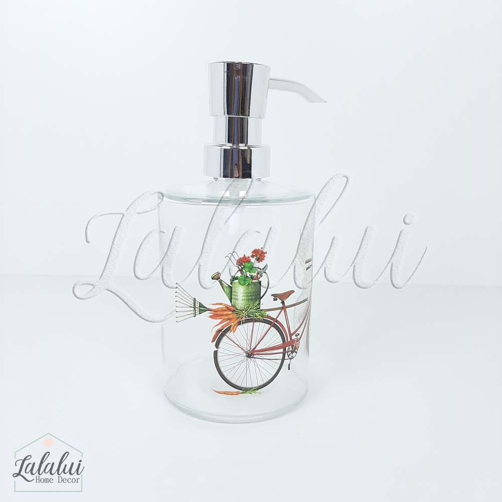 Dispenser | Bike and flower - transparente 8x8x17cm 400mL (LA2117)