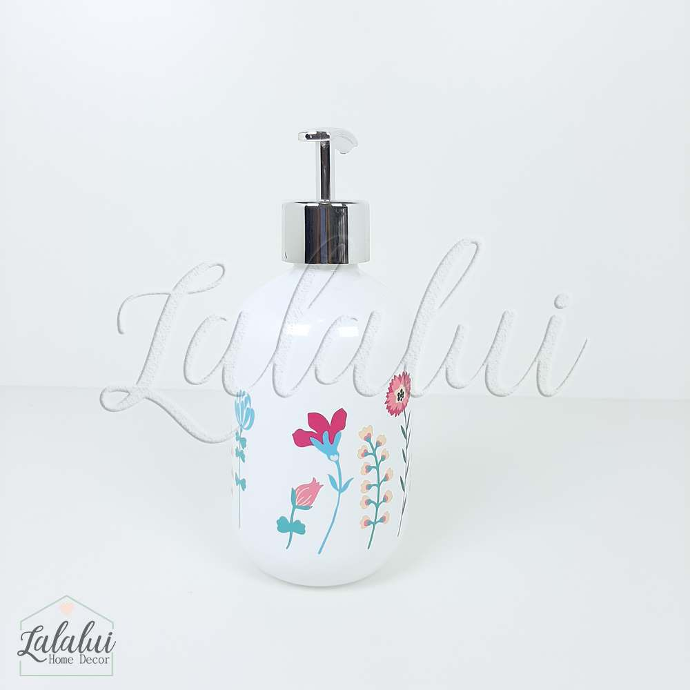 Dispenser | Flowers- branco 7x7x17cm 250mL (LA2115)