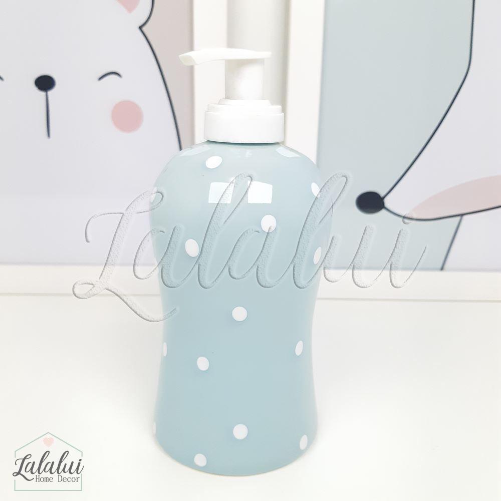 Dispenser para Álcool Gel | Azul Candy com Poá Branco - P65