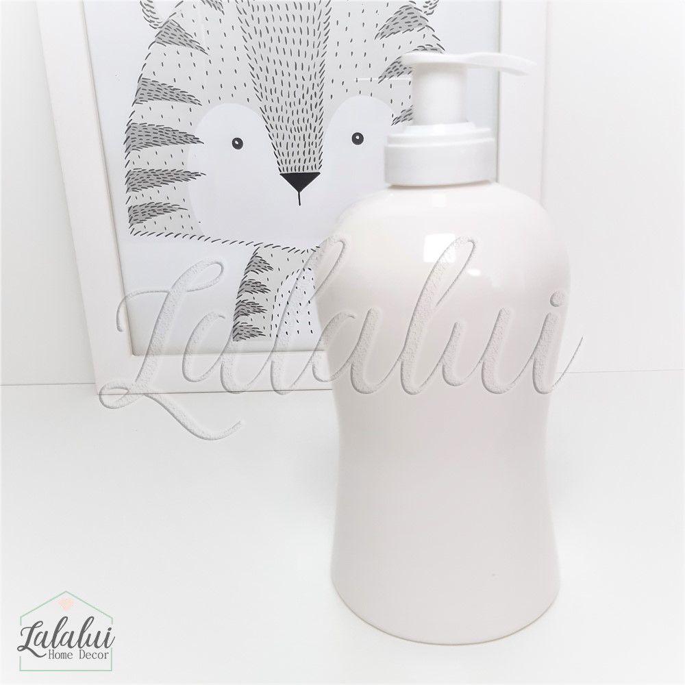 Dispenser para Álcool Gel | Branco com poá rosa