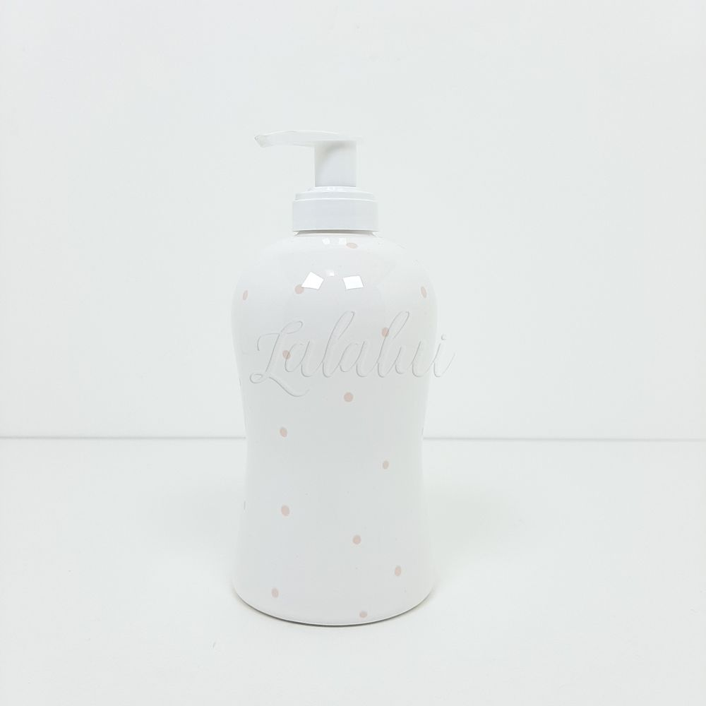Dispenser para Álcool Gel | Branco com poá rosa (LA2229)