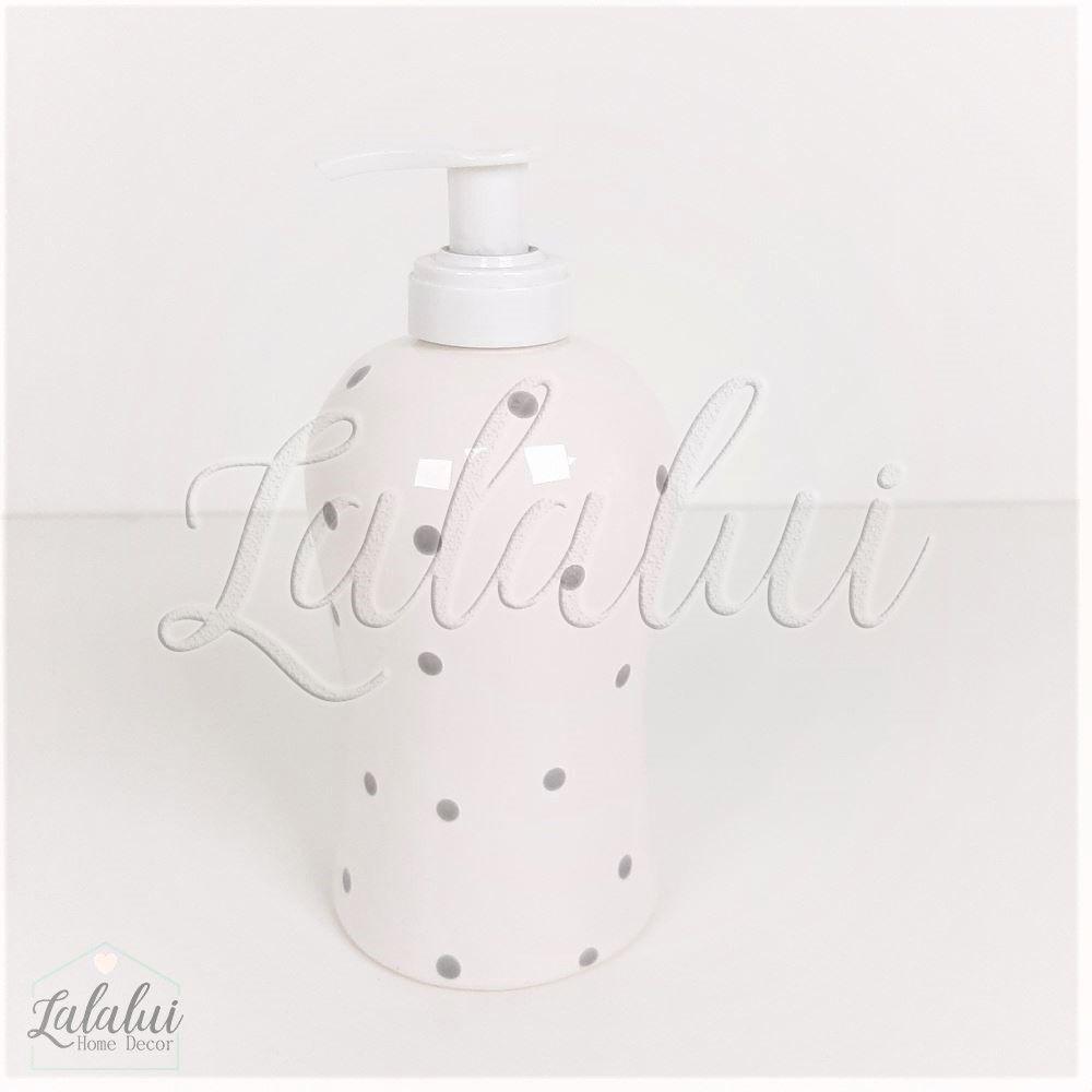 Dispenser para Álcool Gel | Branco com Poás Cinza - P60