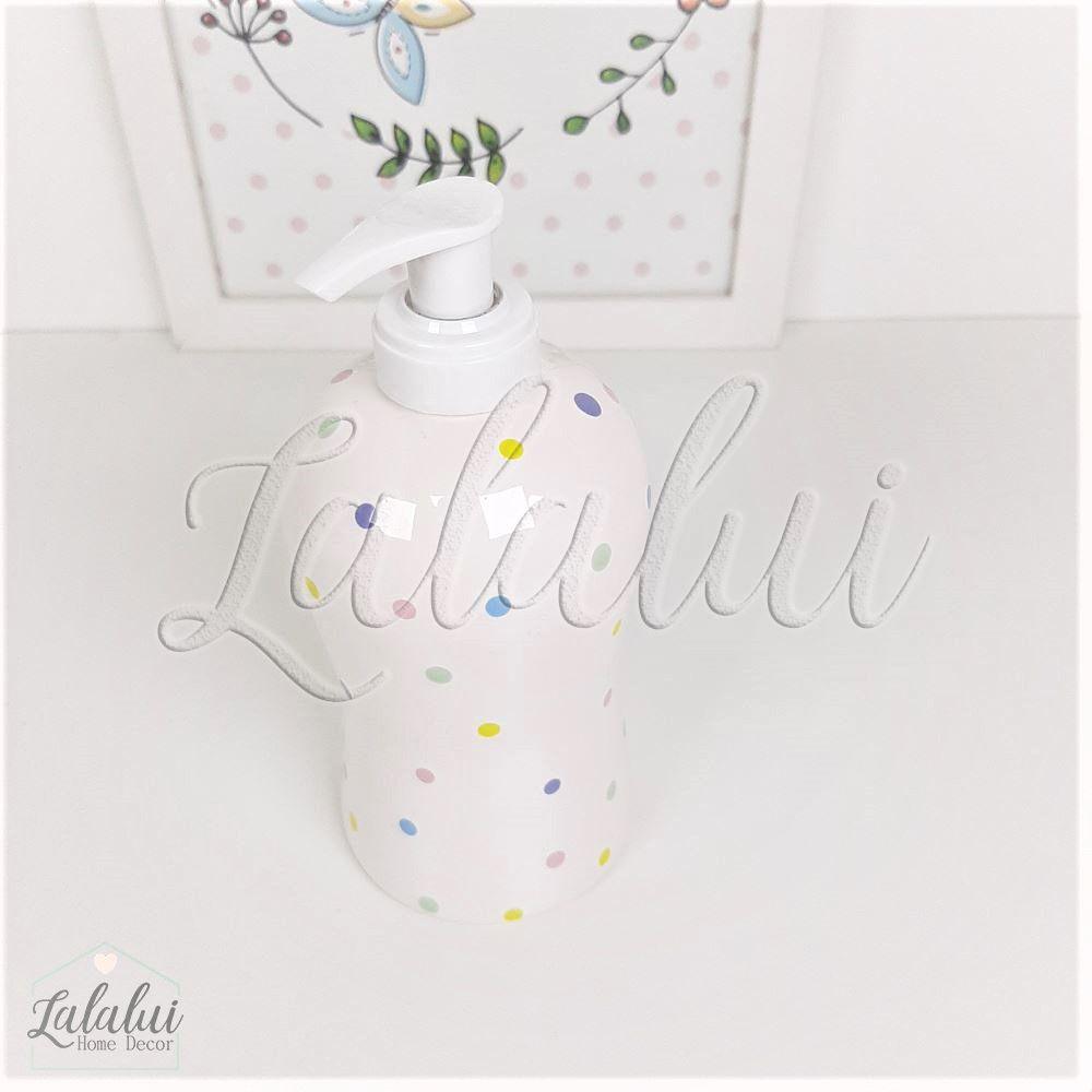 Dispenser para Álcool Gel | Branco com Poás Coloridos - P59