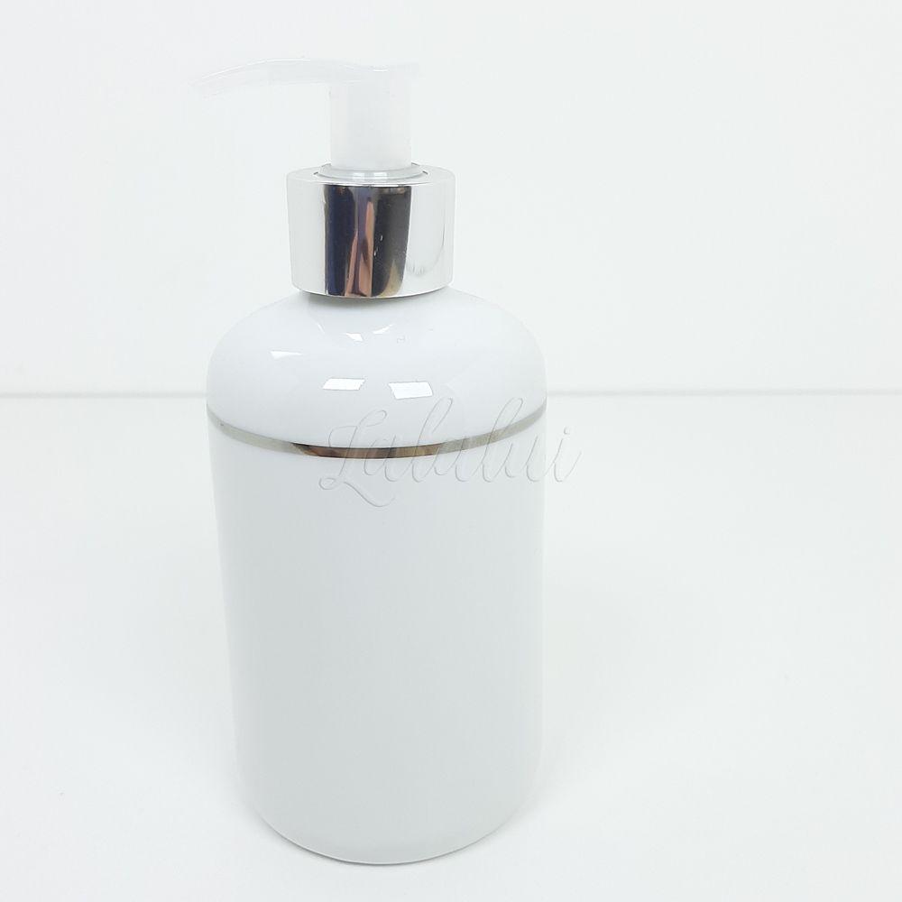 Dispenser para Álcool Gel   Porcelana Branca com Filete Prateado (LA2231)