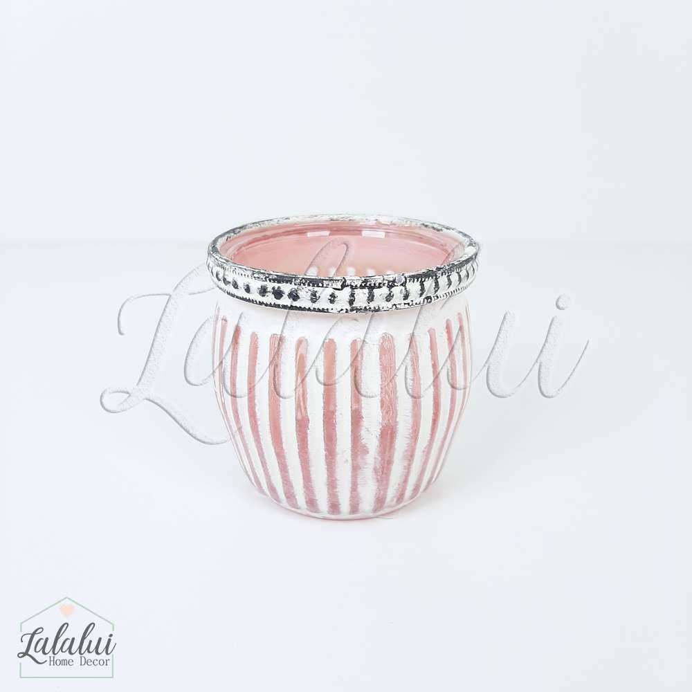Item Decorativo | Castiçal Vidro Listras Rosa 7x7x6,5cm (LA2145)