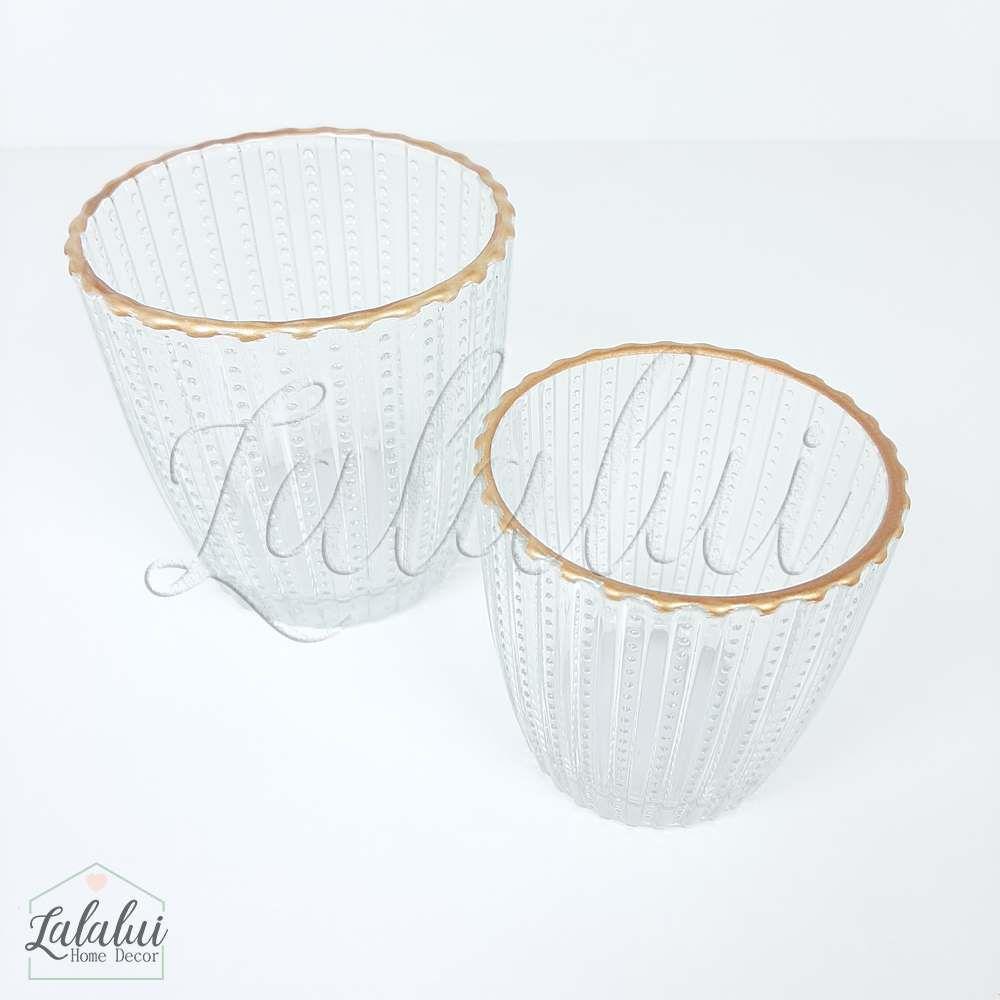 Item Decorativo | Kit 2 Castiçais de vidro - transparente e cobre (8,6x8,6x9cm e  7,2x7,2x7,5cm) (LA2135)