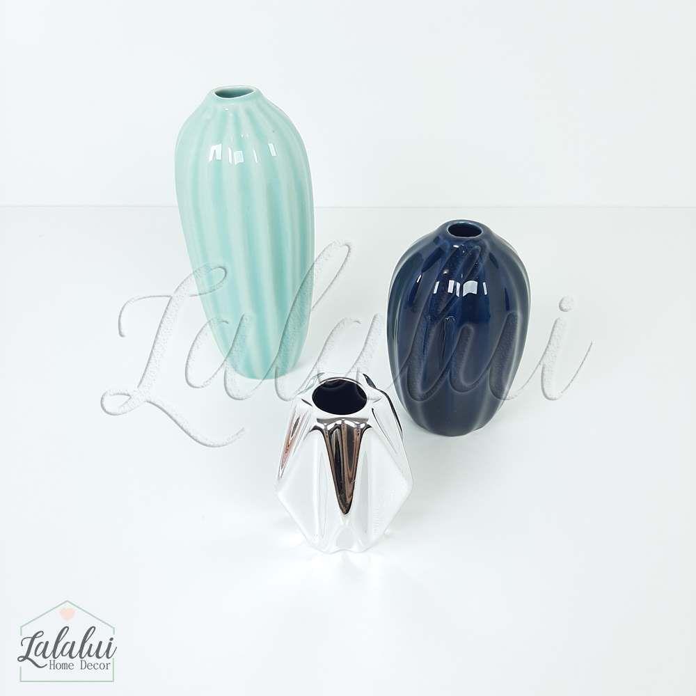 Item Decorativo | Kit c/ 3 mini vasos porcelana - azul/preto/prata (LA2131)