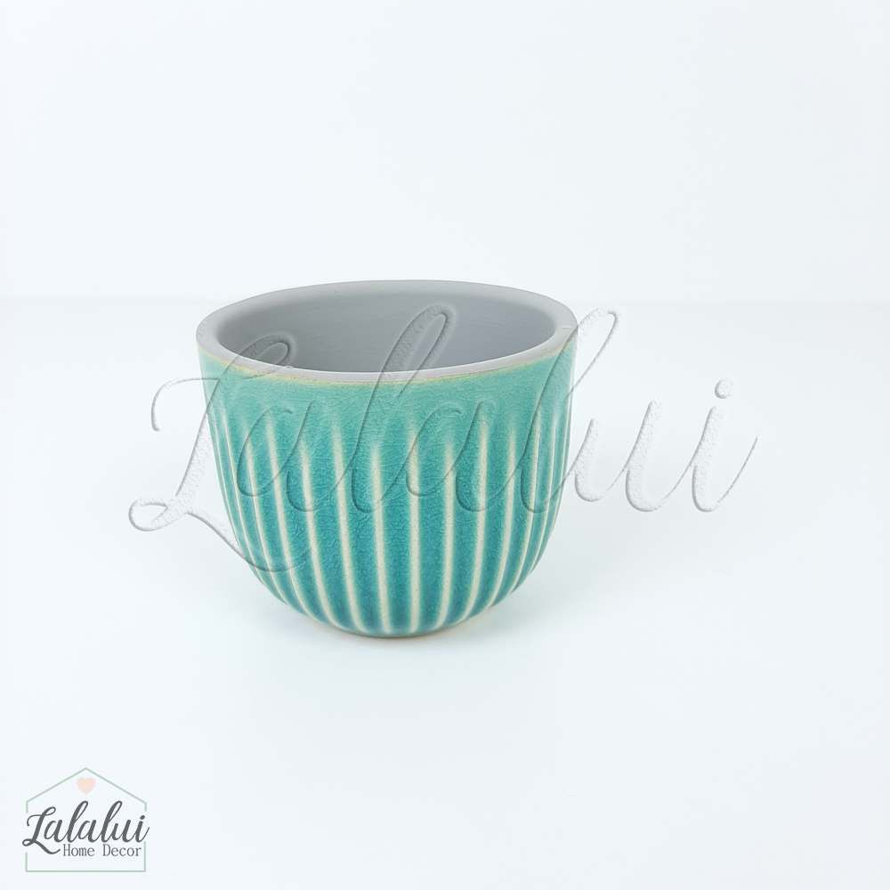 Item Decorativo | Mini cachepot ceramica risks azul 7,5x7,5x6cm (LA2139)