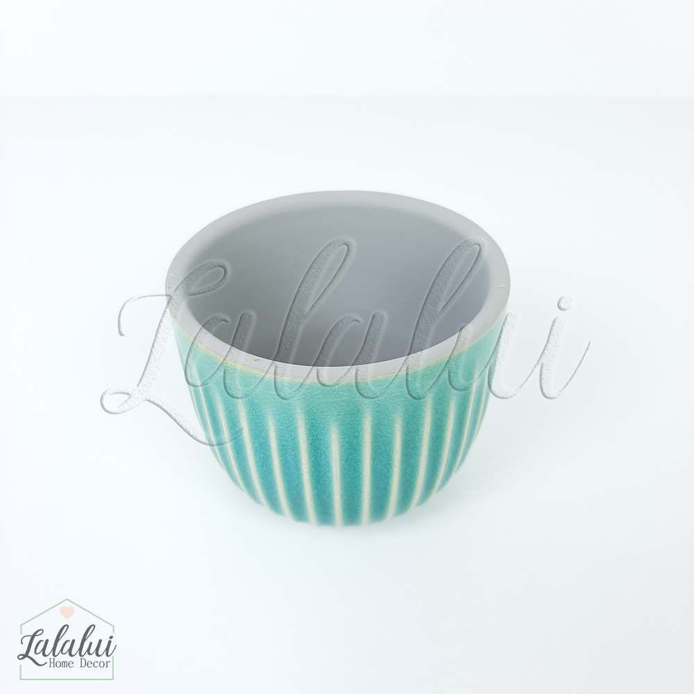 Item Decorativo | Mini cachepot ceramica risks azul 7,5x7,5x6cm (LA2139)