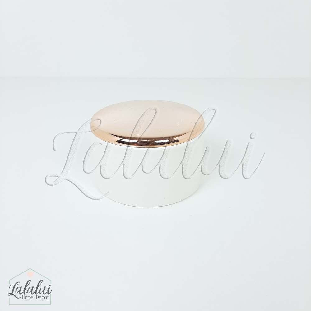 Item Decorativo | Porta jóias cerâmica -  branco e cobre (LA2133)