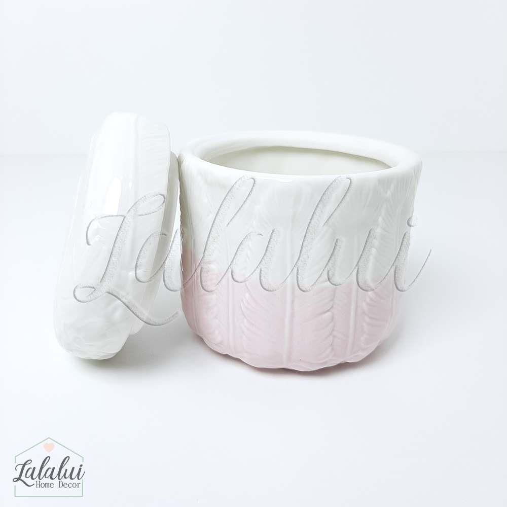 Item Decorativo | Potiche Ceramica Feathers - Rosa 9.7x9.7x10.7cm (LA2149)