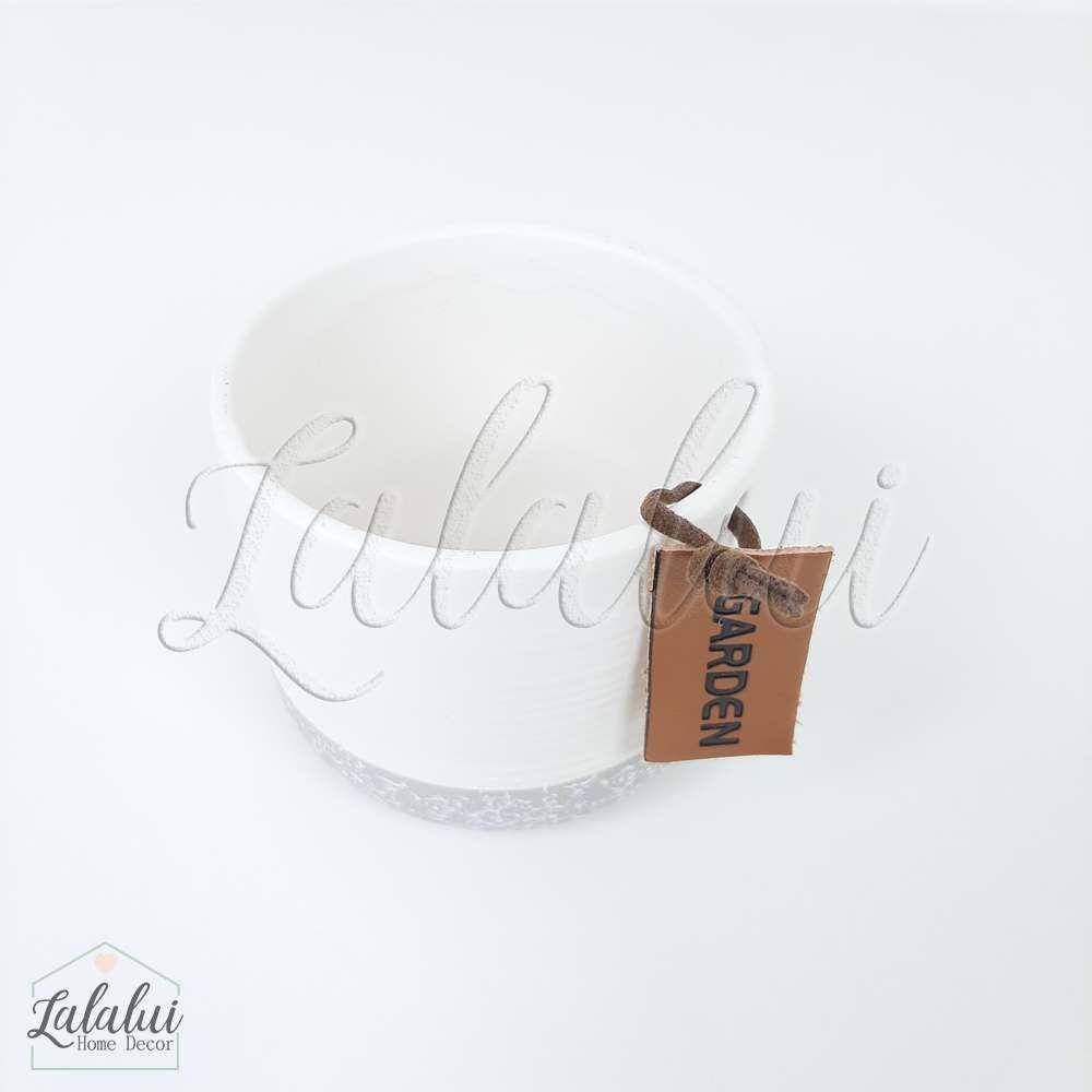 Item Decorativo | Vaso ceramica branco e cinza 7,3x7,3x6,0cm (LA2143)