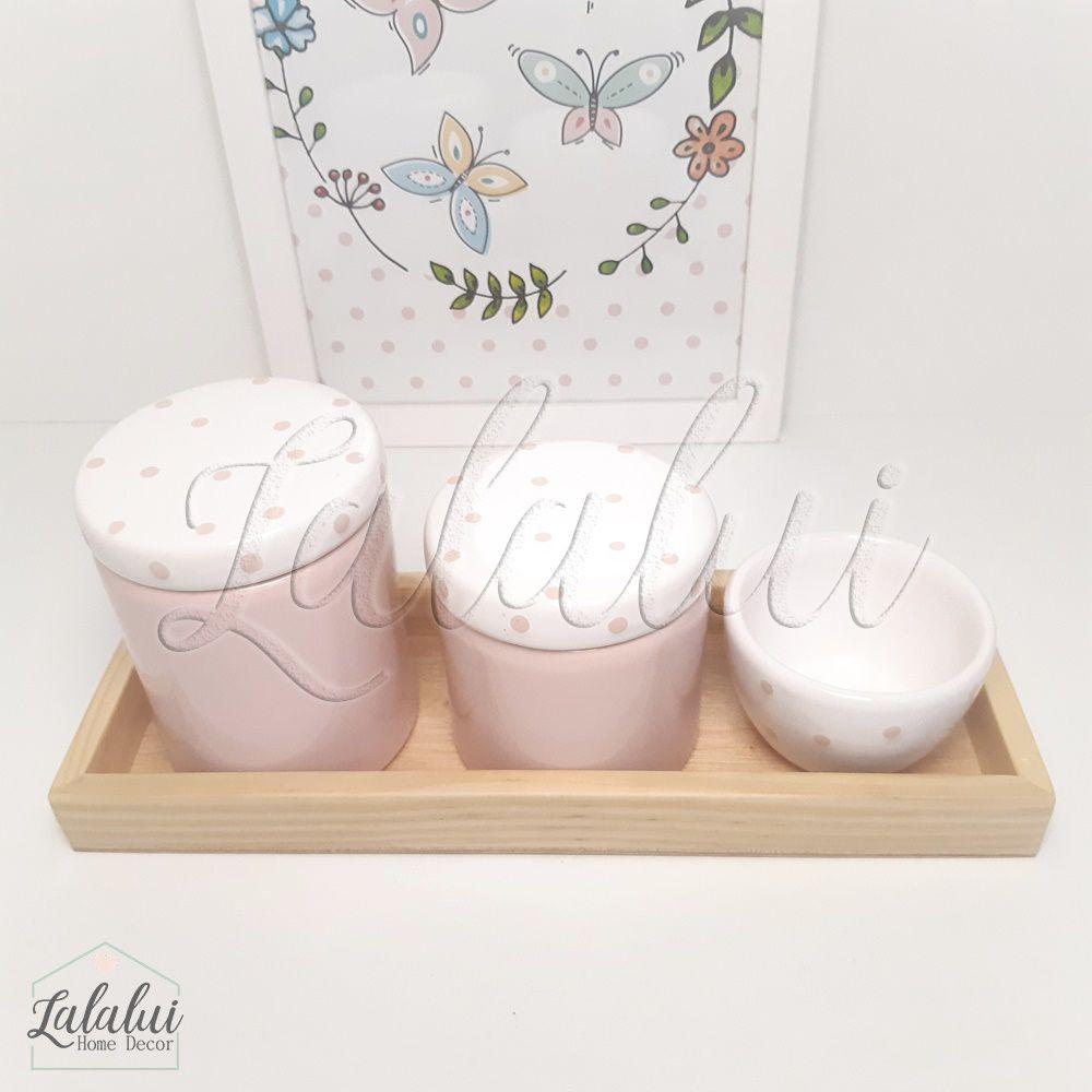 Kit Higiene Rosa e Branco com Poás - K12