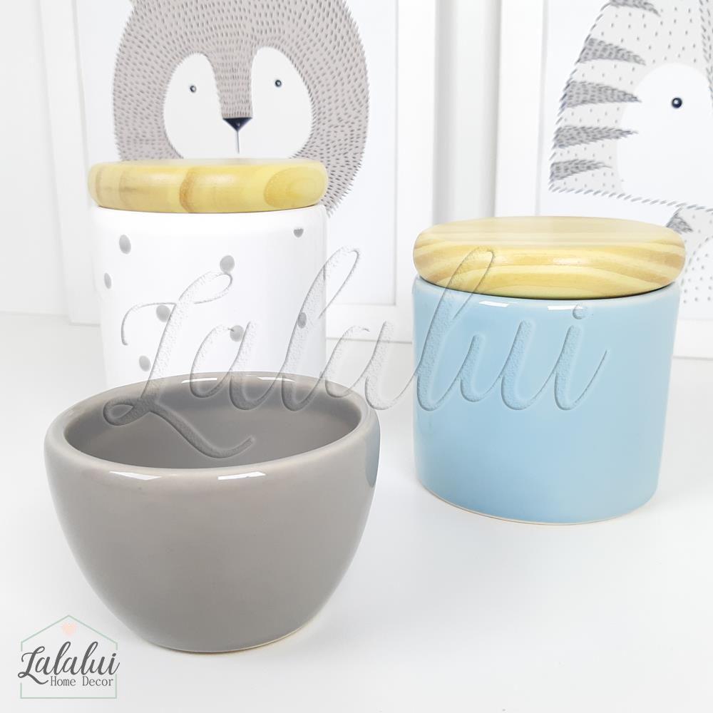 Kit de Potes | Azul Candy, Cinza e Branco com Poás e Tampa de Madeira - P54
