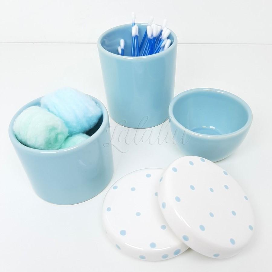 Kit de Potes | Azul Candy e Branco com Poá (LA2207)