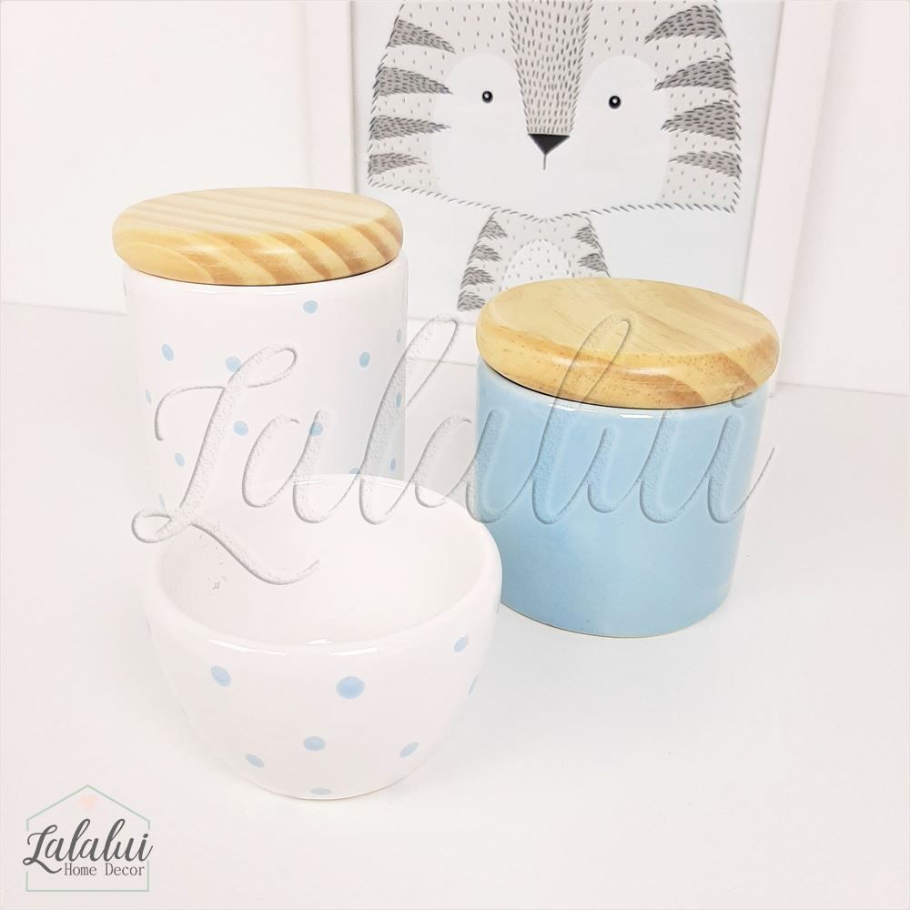 Kit de Potes | Azul Candy e Branco com Poás e Tampa de Madeira - P54