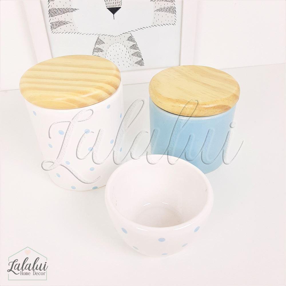 Kit de Potes   Azul Candy e Branco com Poás e Tampa de Madeira - P54