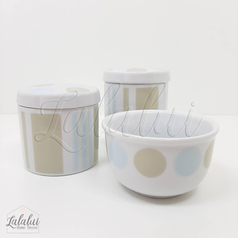 Kit de Potes | Bolas e Listras - Azul e Bege (LA1029)