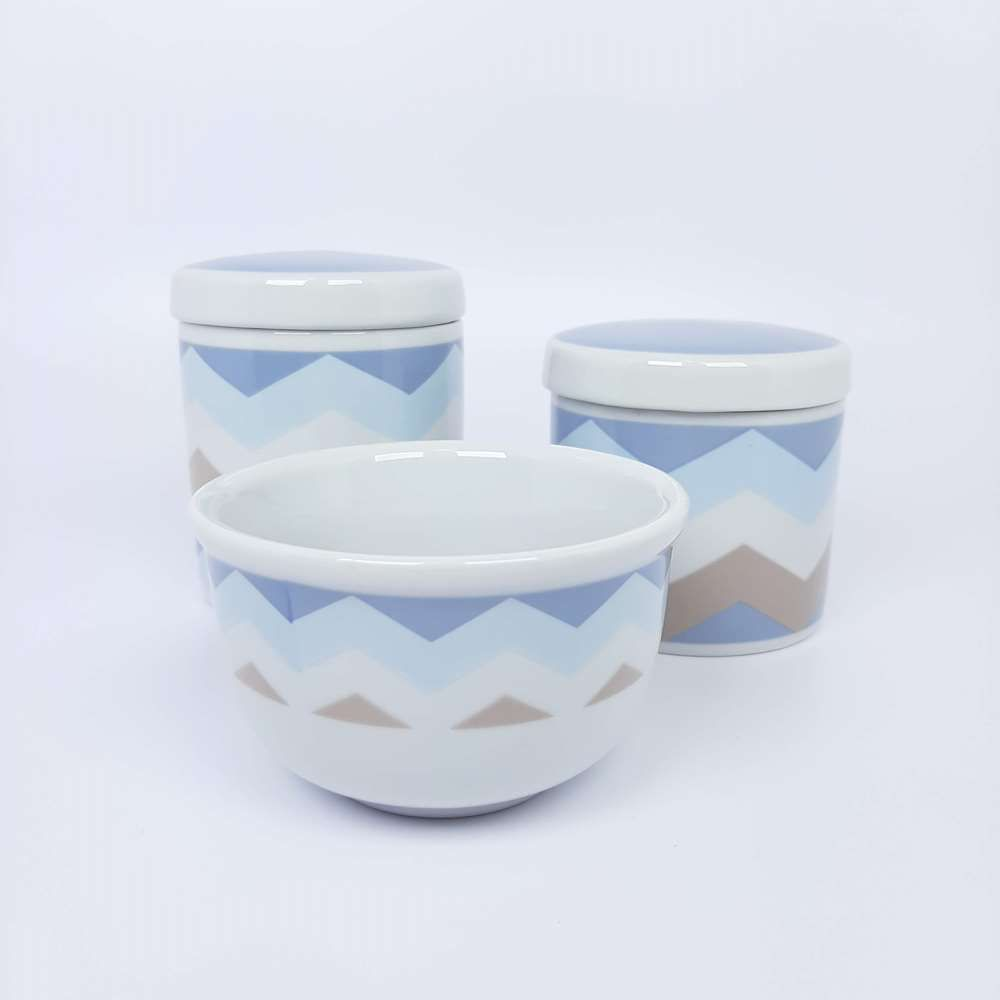 Kit de Potes   Branco com Chevron Azul e Marrom - P04