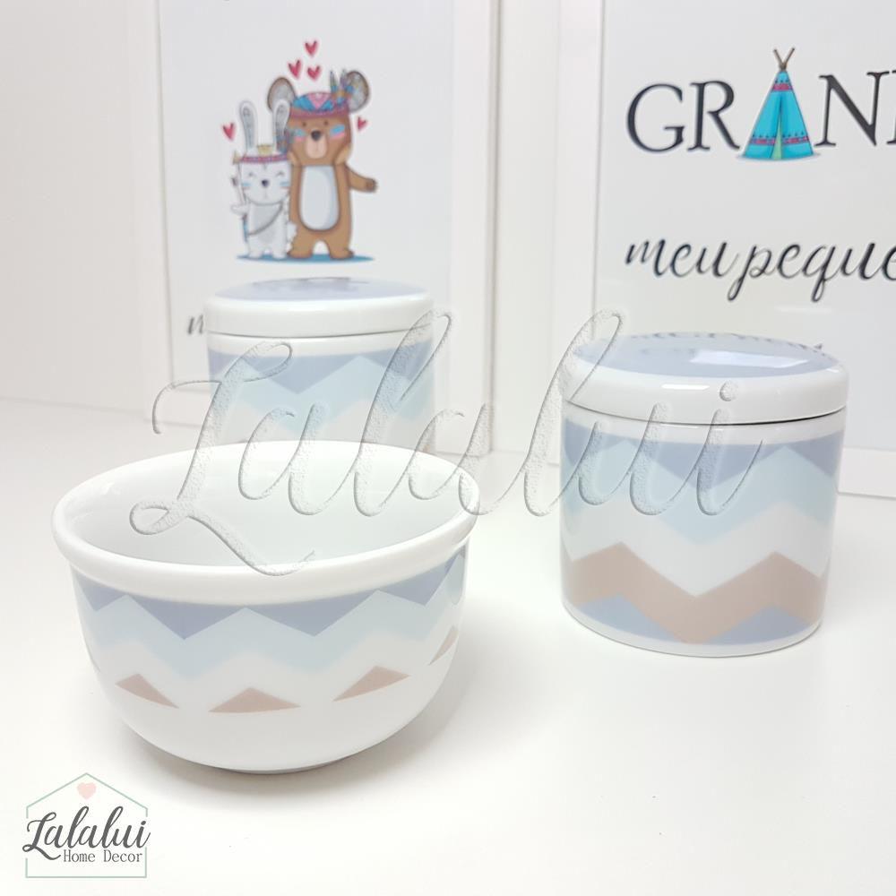 Kit de Potes | Branco com Chevron Azul e Marrom - P04