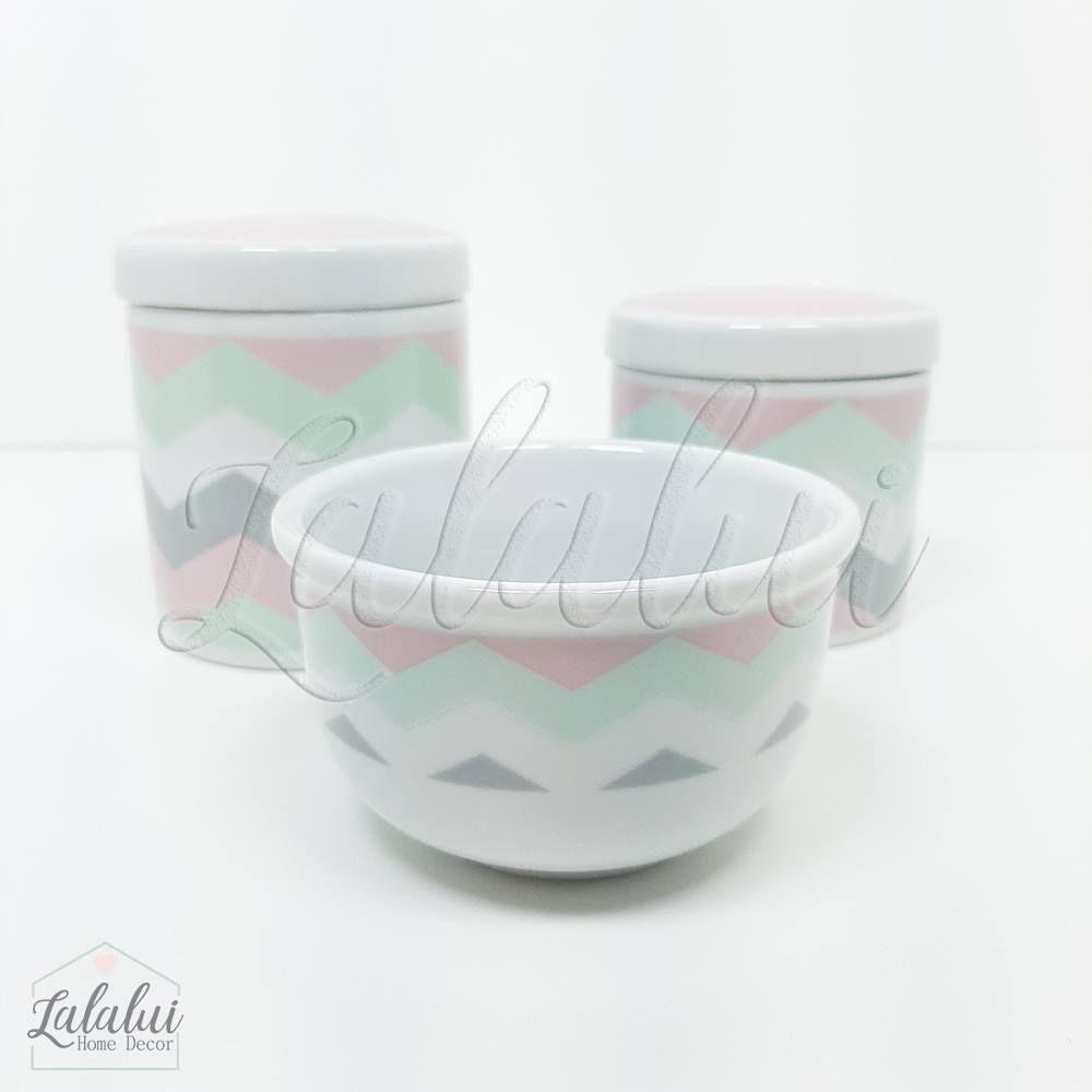 Kit de Potes | Branco com Chevron Rosa, Cinza e Verde (LA0302)