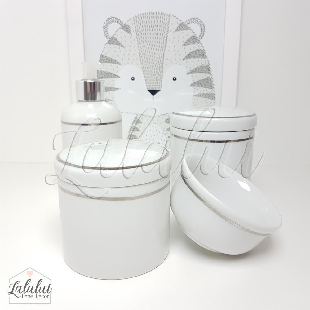 Kit de Potes | Branco com Filete Prateado (LA0309)
