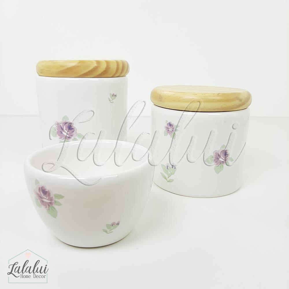 Kit de Potes | Branco com Floral 07 Lilás e tampa de madeira pinus (LA2051)