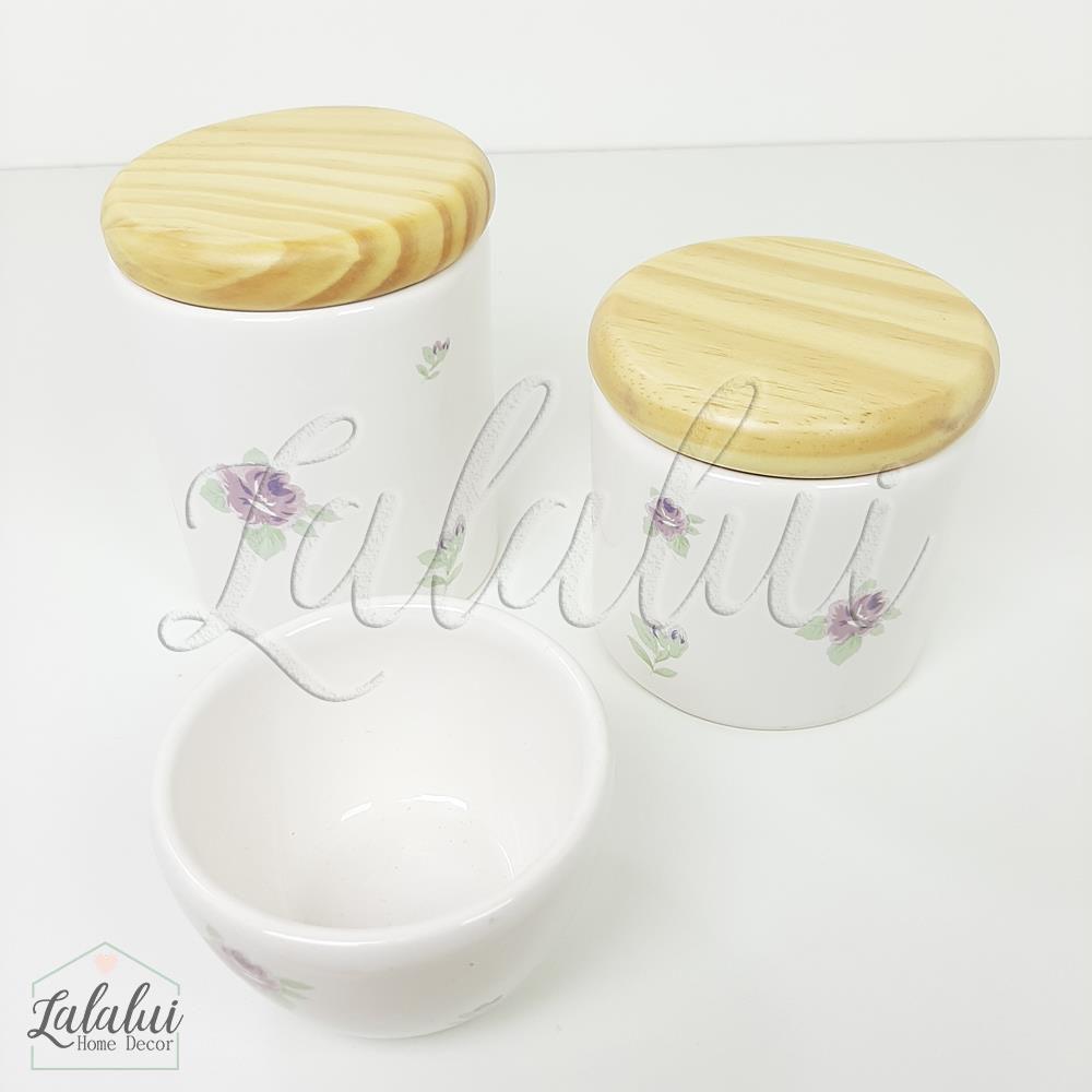 Kit de Potes | Branco com Floral 07 Lilás e tampa de madeira pinus - P77