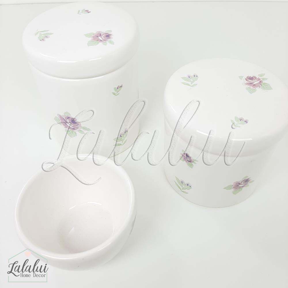 Kit de Potes | Branco com Floral 07 Lilás - P76