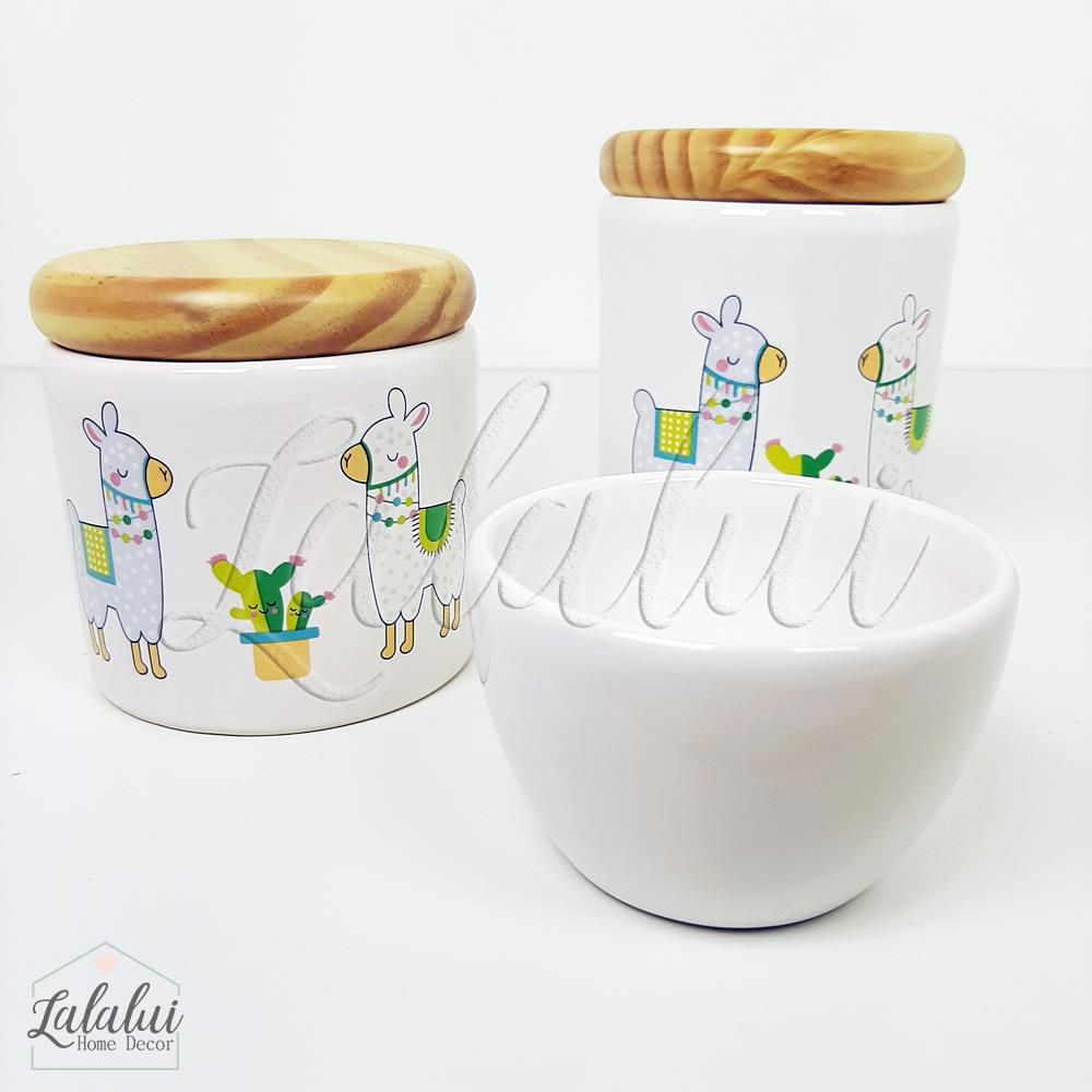 Kit de Potes | Branco com Lhamas e tampa de madeira pinus (LA2043)