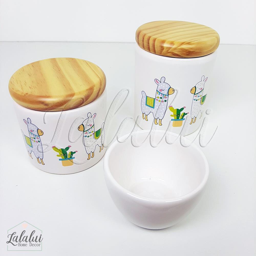 Kit de Potes | Branco com Lhamas e tampa de madeira pinus - P73