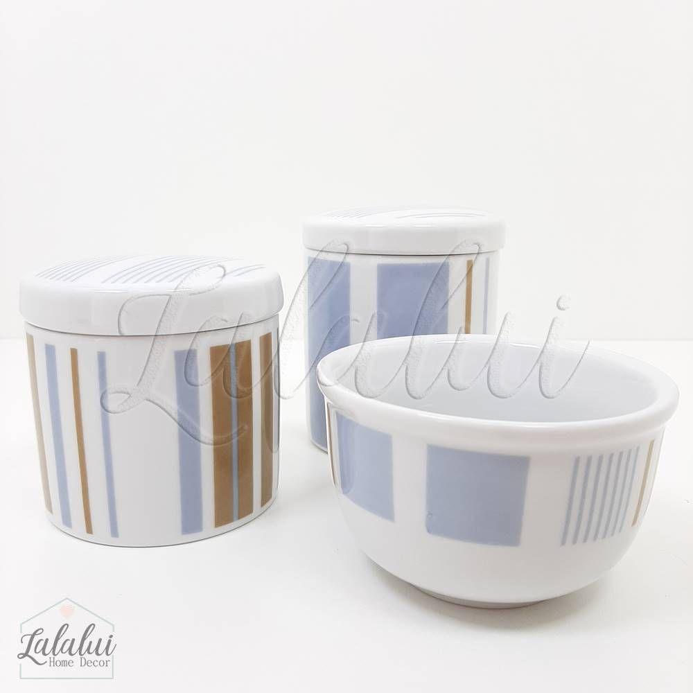 Kit de Potes | Branco com Listras Azul e Marrom (LA1035)