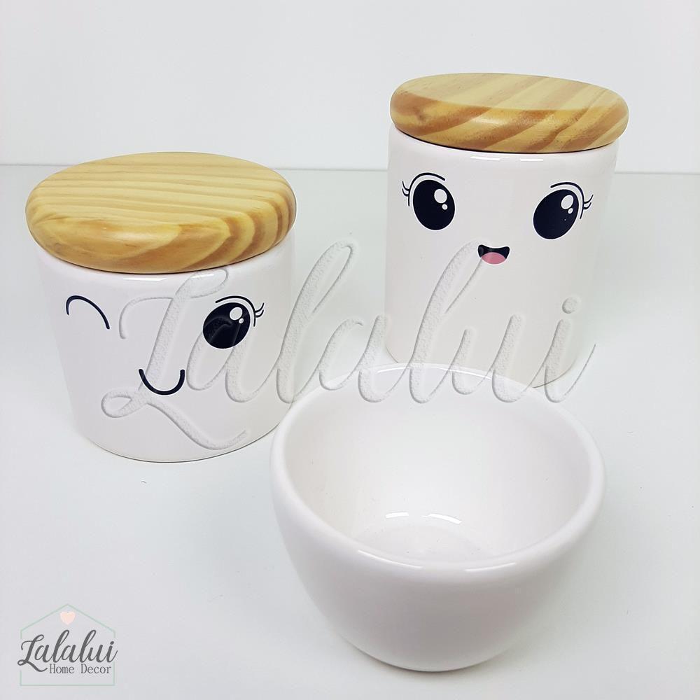 Kit de Potes   Branco com Rostinho e tampa de madeira pinus - P75