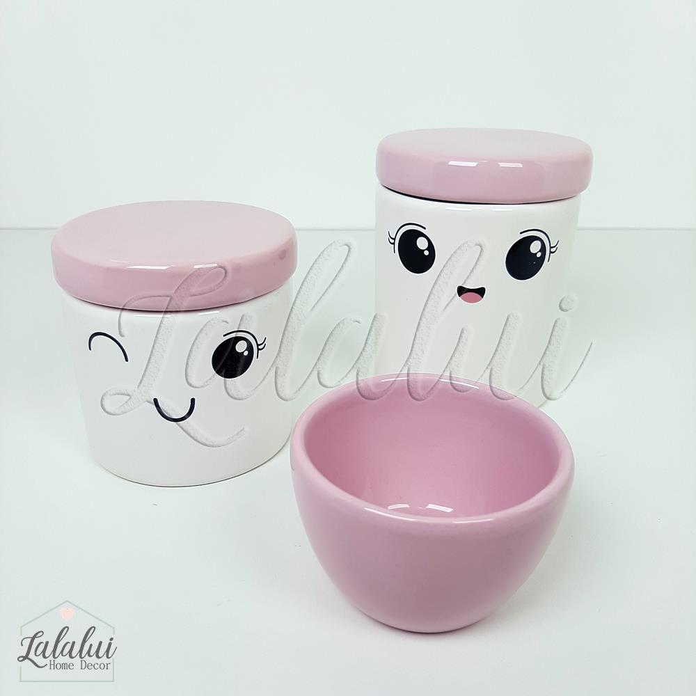 Kit de Potes | Branco com Rostinho e tampa rosa bebê - P74