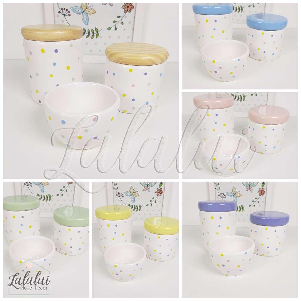 Kit de Potes | Branco com Poás coloridos e Tampas a escolher  - P08