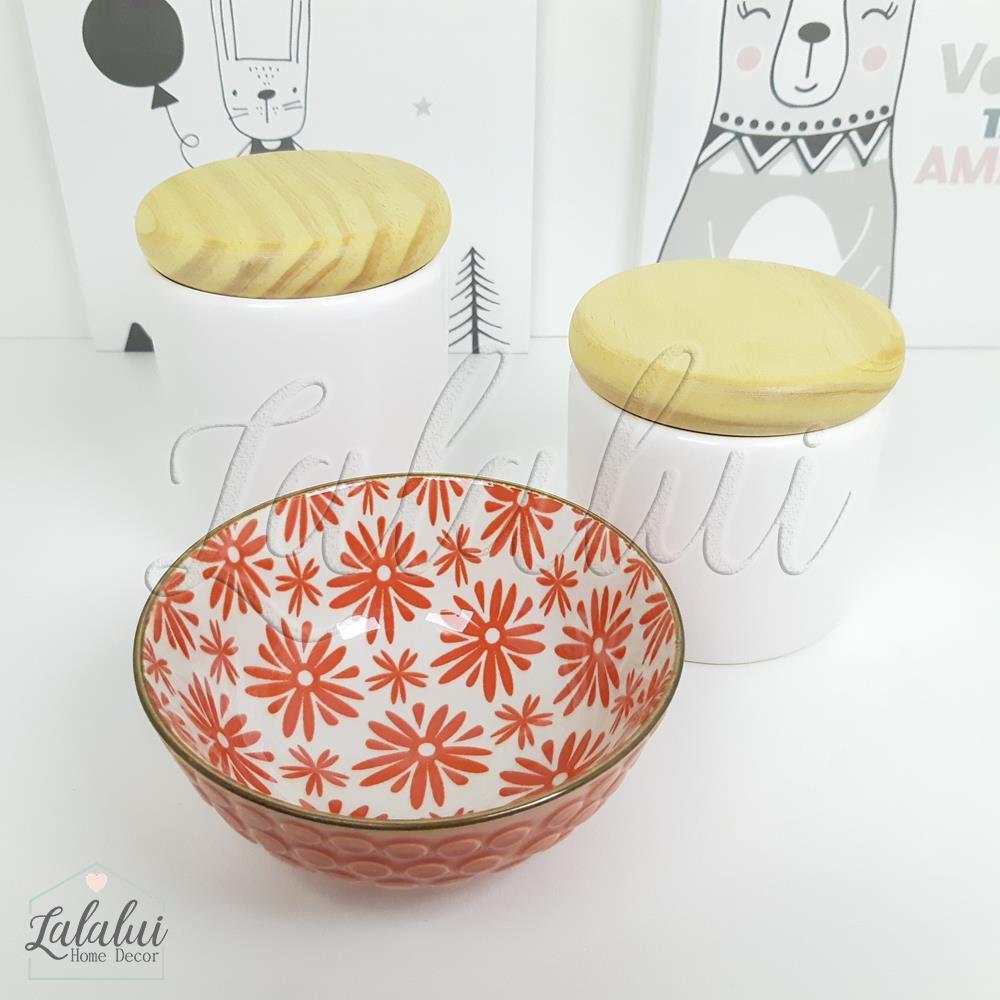 Kit de Potes | Branco com Tampa de Madeira e Bowl com Flores Cereja (LA1189)