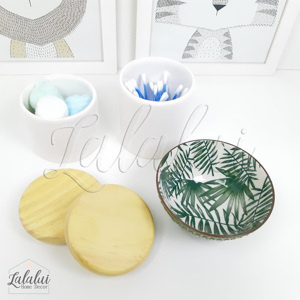 Kit de Potes | Branco com Tampa de Madeira e Bowl com Folhagem - P61