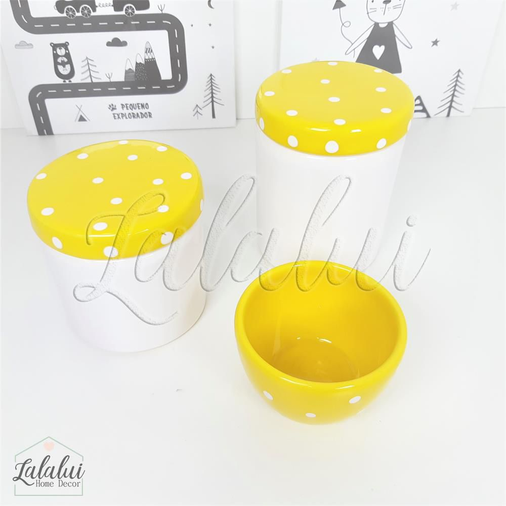 Kit de Potes | Branco e Amarelo com Poás - P48
