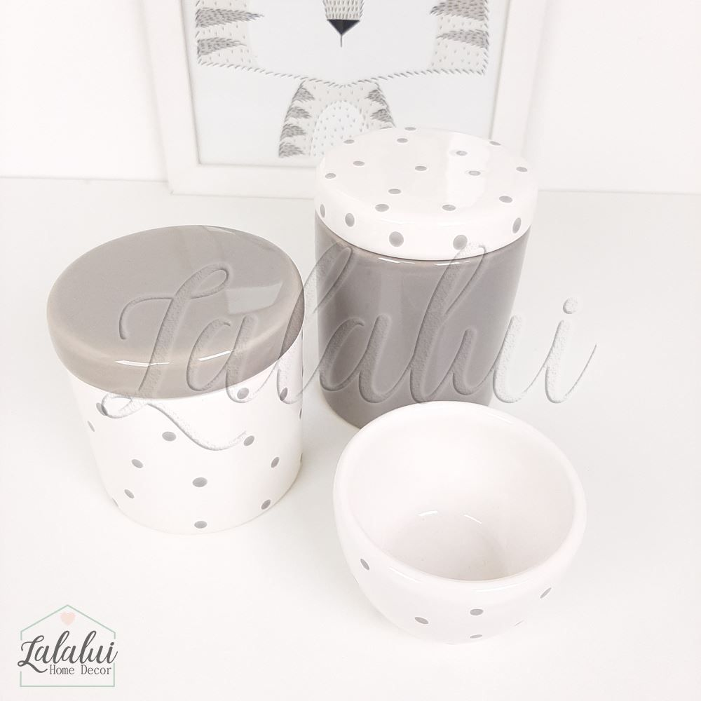 Kit de Potes | Branco e Cinza com Poás - P10