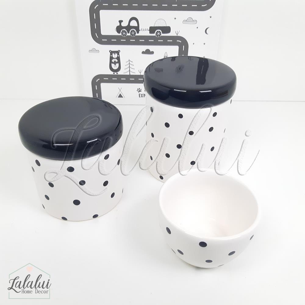 Kit de Potes | Branco e Preto com Poás Pretos - P63